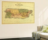 Puerto Rico - Panoramic Map Wall Mural by  Lantern Press