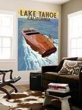 Lake Tahoe, California - Wooden Boat Wall Mural by  Lantern Press