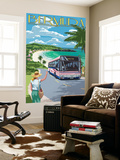 Bermuda - Pink Bus on Coastline Wall Mural by  Lantern Press