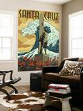 Santa Cruz, California - Surfer Statue Wall Mural by  Lantern Press