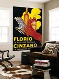 Florio Cinzano Vintage Poster - Europe Premium Wall Mural by  Lantern Press