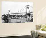 Portland, OR View of St. John Bridge over Columbia Photograph - Portland, OR Wall Mural by  Lantern Press