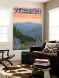 Shenandoah National Park, Virginia - Black Bear and Cubs Spring Flowers Wall Mural by  Lantern Press