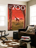 Visit the Zoo, Giraffe Scene Wall Mural by  Lantern Press