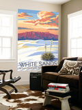 White Sands National Monument, New Mexico - Sunset Scene Wall Mural by  Lantern Press