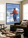 Skier Admiring, Lake Tahoe, California Wall Mural by  Lantern Press