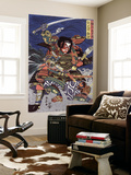 The Samurai Warriors Ichijo Jiro Tadanori and Notonokami Noritsune, Japanese Wood-Cut Print Wall Mural by  Lantern Press