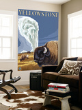 Yellowstone - Bison with Old Faithful Wall Mural by  Lantern Press