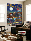 Atlanta, Georgia - Skyline at Night Wall Mural by  Lantern Press