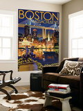 Boston, Massachusetts - Skyline at Night Wall Mural by  Lantern Press