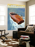 Cape Cod, Massachusetts, Chris Craft Boat Wall Mural by  Lantern Press