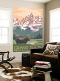 Grand Teton National Park - Moose and Mountains Wall Mural by  Lantern Press