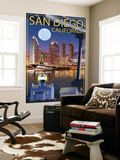San Diego, California - Skyline at Night Wall Mural by  Lantern Press