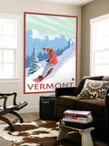Vermont - Snowboarder Scene Wall Mural by  Lantern Press