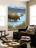 Moose Drinking at Lake, Glacier National Park, Montana Wall Mural by  Lantern Press