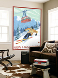 New Hampshire - Skier and Tram Wall Mural by  Lantern Press