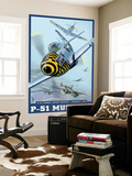 B-25 Bomber Escort Mission - P-51 Mustang, c.2008 Wall Mural by  Lantern Press
