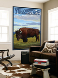 Bison Scene, Yellowstone National Park Wall Mural by  Lantern Press