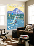Hood River, OR - Wind Surfers & Kite Boarders Wall Mural by  Lantern Press