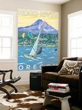 Hood River, OR - Wind Surfers & Kite Boarders Wall Mural by  Lantern Press