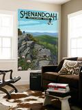 Shenandoah National Park, Virginia - Hikers and Hawk Wall Mural by  Lantern Press