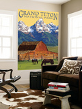 Grand Teton National Park - Barn and Mountains Wall Mural by  Lantern Press