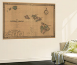 Hawaii - Panoramic State Map Wall Mural by  Lantern Press