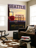 Seattle, Washington - Pike Place Market Sign and Water View Wall Mural by  Lantern Press