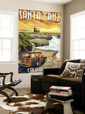 Santa Cruz, California - Woody and Lighthouse Wall Mural by  Lantern Press