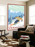 Vermont - Downhill Skier Scene Wall Mural by  Lantern Press