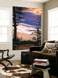 Cambria, California - Sunset & Surfers Wall Mural by  Lantern Press