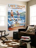 Lake Tahoe, California - Water Skiing Scene Wall Mural by  Lantern Press