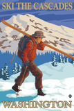 Ski the Cascades, Cascade Mountains, Washington Wall Mural by  Lantern Press