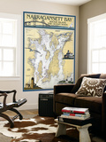 Narragansett Bay, Rhode Island Nautical Chart Wall Mural by  Lantern Press