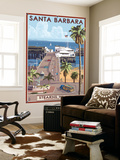 Santa Barbara, California - Stern's Wharf Wall Mural by  Lantern Press