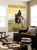 Cowboy & Horse, Montana Wall Mural by  Lantern Press