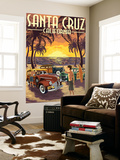 Santa Cruz, California - Vintage Woodies on the Beach Wall Mural by  Lantern Press