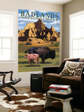 Badlands National Park, South Dakota - Bison Scene Wall Mural by  Lantern Press