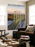 Tacoma, Washington - Narrows Bridge and Rainier Wall Mural by  Lantern Press