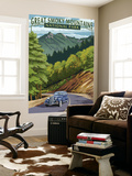Chimney Tops and Road - Great Smoky Mountains National Park, TN Wall Mural by  Lantern Press