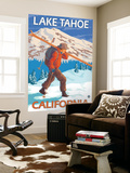 Skier Carrying Snow Skis, Lake Tahoe, California Wall Mural by  Lantern Press