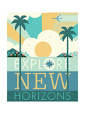 Vintage Travel Explore New Horizons Premium Giclee Print by Michael Mullan