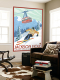 Wyoming Skier and Tram, Jackson Hole Wall Mural by  Lantern Press
