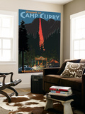 Firefall and Camp Curry - Yosemite National Park, California Wall Mural by  Lantern Press