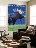 New Hampshire - Moose in the Moonlight Wall Mural by  Lantern Press