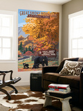 Park Entrance and Bear Family - Great Smoky Mountains National Park, TN Wall Mural by  Lantern Press