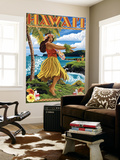 Hawaii Hula Girl on Coast Wall Mural by  Lantern Press
