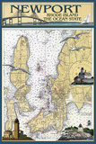 Newport, Rhode Island Nautical Chart Wall Mural by  Lantern Press