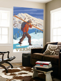 Vermont - Skier Carrying Skis Wall Mural by  Lantern Press