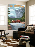 New Hampshire - Old Man of the Mountain and Roadway Wall Mural by  Lantern Press